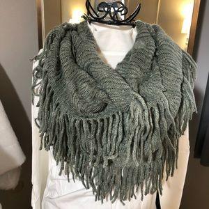 Knit Fringe Tube Infinity Scarf